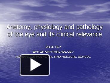 PPT - Anatomy, physiology and pathology of the eye and its ...