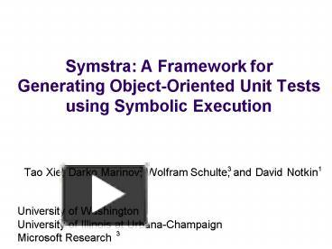 PPT – Symstra: A Framework for Generating ObjectOriented Unit Tests