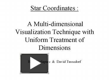 ppt star coordinates a multidimensional visualization technique