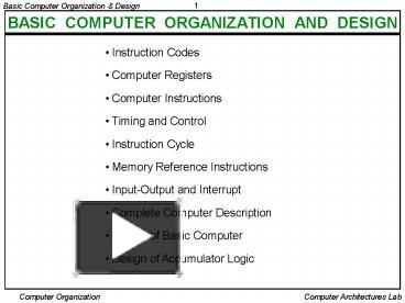 Ppt Basic Computer Organization And Design Powerpoint Presentation Free To View Id 114daa Y2q2m