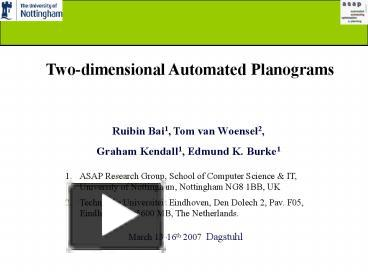 PPT – Twodimensional Automated Planograms PowerPoint
