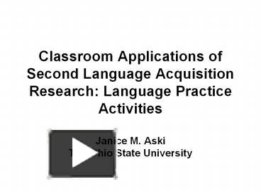 second language acquisition activities