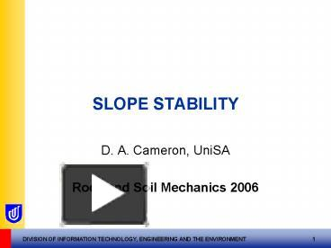 PPT – SLOPE STABILITY PowerPoint presentation | free to view - id