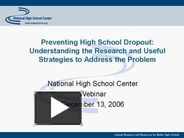 solutions to prevent high school dropouts 3 dropout prevention recommendations for school counselors for most students entering high school is an exciting time oftentimes, students eagerly anticipate that high school will be the best time of their lives.