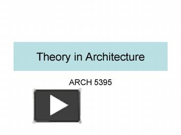 PPT – Theory in Architecture PowerPoint presentation | free