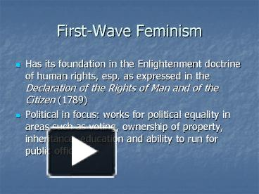 first wave feminism essay