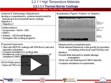 PPT – 2 2 1 1 1 Thermal Barrier Coatings PowerPoint