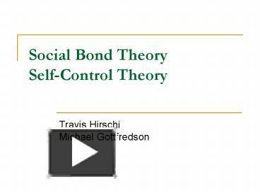 social bonding theory essay