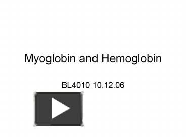 MYOGLOBIN STRUCTURE AND FUNCTION PDF DOWNLOAD