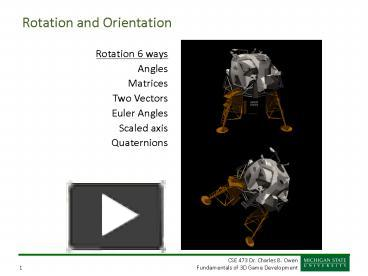 PPT – Rotation and Orientation PowerPoint presentation