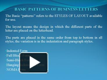 Ppt basic patterns of business letters powerpoint presentation ppt basic patterns of business letters powerpoint presentation free to view id 129160 owjhm spiritdancerdesigns Image collections
