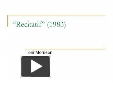 toni morrison recitatif audio
