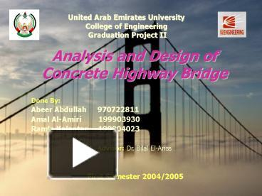 PPT – Analysis and Design of Concrete Highway Bridge PowerPoint