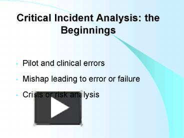 critical incidence analysis