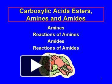 PPT – Carboxylic Acids Esters, Amines and Amides PowerPoint