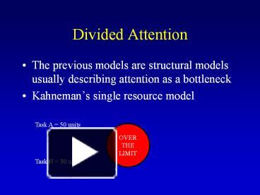 dividing attention Treisman and gelade (1980) hypothesized that if isolated features involved divided attention and targets could be identified in parallel with fillers, and combination.