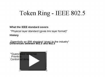 PPT – Token Ring IEEE 802 5 PowerPoint presentation | free