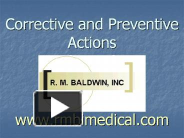 ppt corrective 20and 20preventive 20actions 20 capa 20 20www rh powershow com Capa Corrective and Preventive Actions Corrective vs Preventive Action