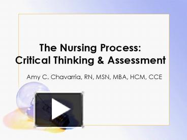 critical thinking and the nursing process ppt
