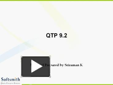 PPT – QTP 9 2 PowerPoint presentation | free to download