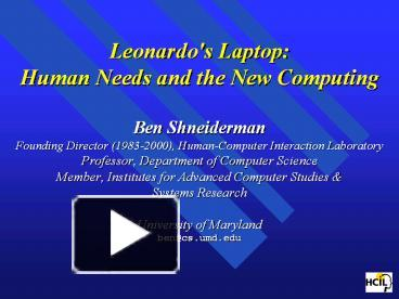 a literary analysis of leonardos laptop by ben shneiderman Find great deals for leonardo's laptop : human needs and the new computing technologies by ben shneiderman (2002, hardcover) shop with confidence on ebay.