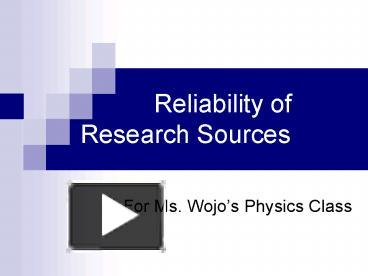 reliability research papers