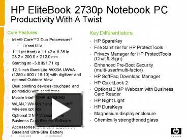 PPT – HP EliteBook 2730p Notebook PC Productivity With A Twist