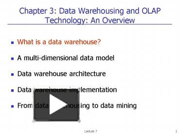 PPT – Chapter 3: Data Warehousing and OLAP Technology: An Overview
