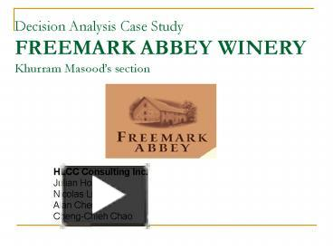 freemark abbey case essay Ase analysis freemark abbey winery(qunatitative biz analysis) case analysis to cover executive summary of the case decision problemin the form of a statement decision tree analysis of the.