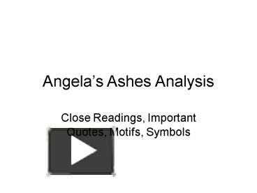 ap angelas ashes analysis