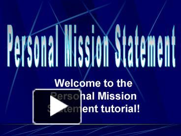 a personal mission statement is defined as