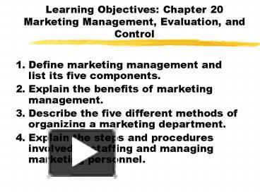 Define marketing management and its objectives