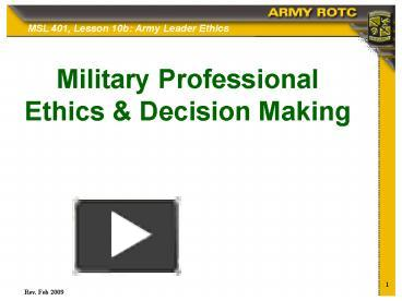 Ppt Military Professional Ethics Powerpoint Presentation