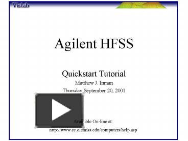 PPT – Agilent HFSS PowerPoint presentation | free to view - id