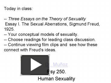Essay On Good Health Ppt  Today In Class Three Essays On The Theory Of Sexuality Essay I The  Sexual Aberrations Sigmund Fre Powerpoint Presentation  Free To View   Id  Science Fair Essay also Personal Essay Samples For High School Ppt  Today In Class Three Essays On The Theory Of Sexuality Essay  Essay For English Language