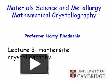PPT – Materials Science and Metallurgy PowerPoint