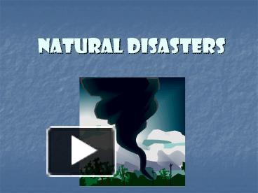 Who Should Pay For Natural Disasters