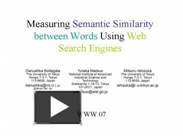 PPT – Measuring Semantic Similarity between Words Using Web Search