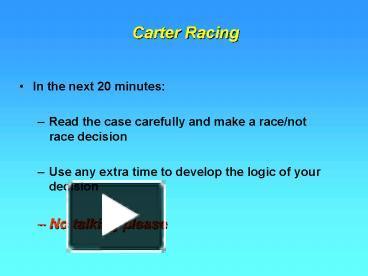 harvard business review carter racing case essay