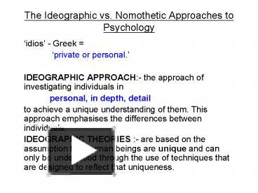 what is nomothetic approach