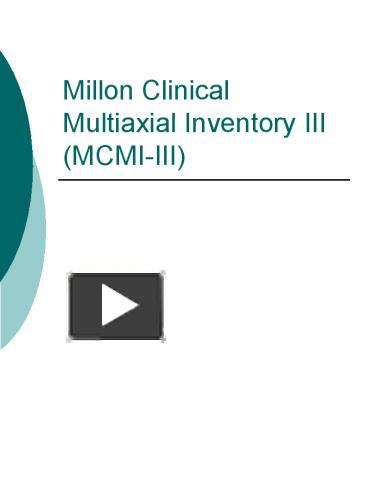 PPT – Millon Clinical Multiaxial Inventory III MCMIIII PowerPoint ...