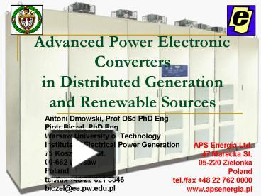 PPT – Advanced Power Electronic Converters in Distributed