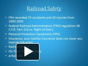 PPT – Railroad Safety PowerPoint presentation | free to view