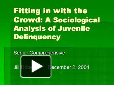 an analysis of juvenile delinquency