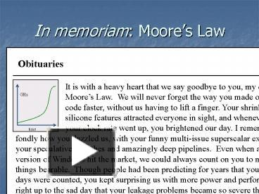 ppt in memoriam moores law powerpoint presentation free to view