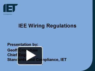 Ppt iee wiring regulations powerpoint presentation free to view ppt iee wiring regulations powerpoint presentation free to view id 180cfa zdc1z greentooth Gallery