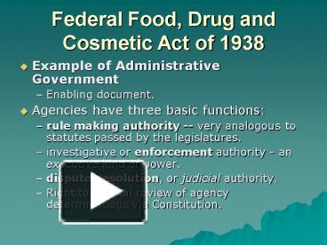 federal food and drug act Federal food and drug act of 1906 • known as the pure food and drug act • provided authority for federal inspection of meat products and prohibited the sale of adulterated foods.