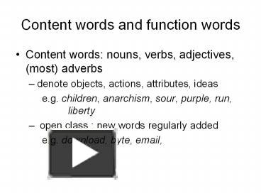 ppt content words and function words powerpoint presentation