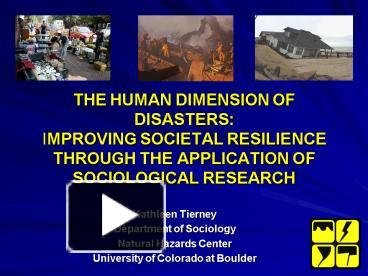 the social dimensions of disasters Facing hazards and disasters: understanding human dimensions committee on disaster the nrc established the committee on disaster research in the social.