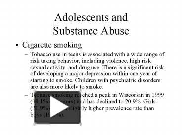 risk factors for adolescent substance abuse